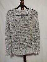 Ann Taylor Loft women's size M pullover holed sweater white black LS v-neck NWOT