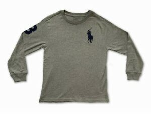 New Polo Ralph Lauren Long Sleeve T Shirt Top Grey Navy Blue Big Pony Age 8 140