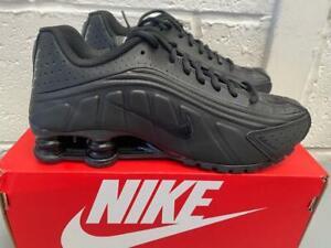 Juniors Nike Shox R4 Trainers BQ4000 001 Triple Black Size UK 4 to 5.5