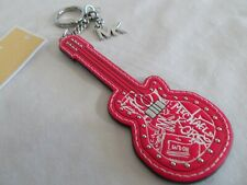 NWT Michael Kors GUITAR KEY FOB / RING Neon Pink Multi BAG CHARM    MK $78