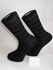 Grey stripes with yellow stitching design - Black Socks. Cotton Blend