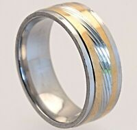 8mm Stainless Steel Mens & Womens Silver & Gold Wedding Band - Ring Sizes L to Z