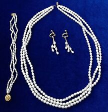 Freshwater Pearl Jewelry Set - Necklace, Bracelet, Earrings