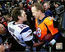 Tom Brady & Peyton Manning 2015 Denver Broncos AFC Championship Game 8x10 Photo