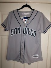 24f53738280 Majestic Women s San Diego SD Padres Gray Blue Cool Base Jersey NWT Size