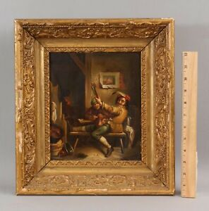 19thC Antique Flemish Wine Connoisseur Vintner Winemaker Genre Oil Painting, NR