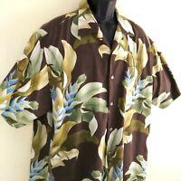 Tommy Bahama Brown Green Floral 100% Silk XL Hawaiian Shirt