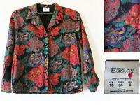 Vintage Eastex Blouse UK 10 Floral Print 1970s 1980s Retro Top Black Roses