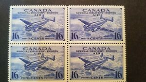 CANADA CE1 MNH/LH OG Block/4 16c AIR MAIL SPECIAL DELIVERY