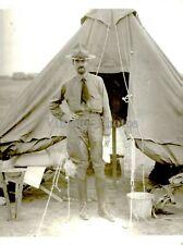 Press Photo Military Tent Vintage Uniform Hat Dirt Bucket Sleeping Boots 6X8