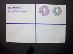 GB Postal Stationery STO QEII 2s + 3d Compound Registered Envelope H&B RSP16