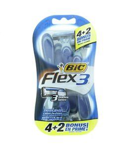 Bic Flex 3 Blade Mens Pivot Head Shaving Disposable Razors, Pack of 6