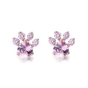 Fashion Women Animal Paw Pink Zircon Earring Fashion Jewelry Girls Gifst AAA CZ