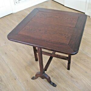 Old antique Edwardian art deco Oak Tilt top Occasional Side Games etc Table