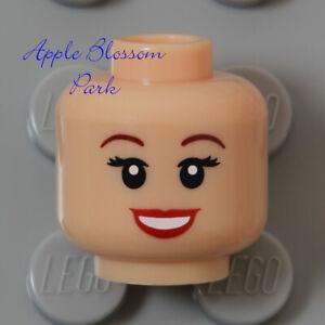 NEW Lego Light Flesh FEMALE MINIFIG HEAD w/Princess Red Lipstick Lips Girl Smile