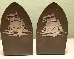 """Gothic"" Heintz Bookends Sailing Ship Overlay"
