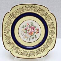 Johnson Bros Signed Pareek Shaped Plate Yellow, Gold & Cobalt Blue England