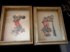 Vtg 2 Wall Art 1974 3D Paper Art Signed Circus Clowns Shadow Box framed NY
