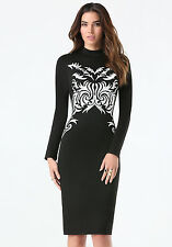BEBE BLACK MOCK NECK EMBROIDERED MIDI DRESS NWT NEW $139 SMALL S