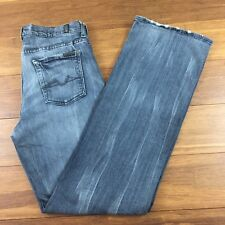 7 For All Mankind Women's Size 32x33 Relaxed Button Fly Grey Straight Leg Jeans