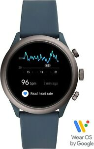 Fossil Men's Sport Smartwatch 43mm Aluminum Smokey Blue w/ Silicone BAND Google