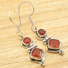 Free Shipping on Additional Items! Silver Plated Red Carnelian DECO Earrings