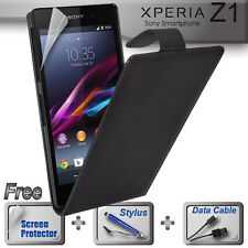 Black Leather Flip Case Cover for Sony Xperia Z1 C6903 +FREE SP & Stylus & Cable