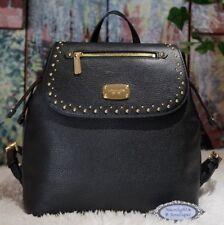 MICHAEL KORS BEDFORD ZIP Pebbled LEATHER Studded LARGE Backpack In BLACK $378