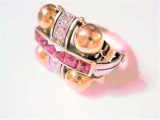 Antiker Ring Gold 585 mit Diamanten und Turmalinen, 5,67 g