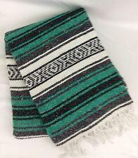 "Mexican Blanket Serape Saltillo Throw Green Gray Black White 52"" x 74"""