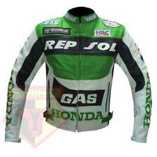 HONDA GAS REPSOL GREEN MOTORBIKE MOTORCYCLE COWHIDE LEATHER ARMOURED JACKET