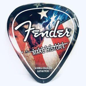 """Fender Guitar Pic 12"""" Metal Tin Sign Nostalgic Retro Decor Hobby Lobby Triangle"""