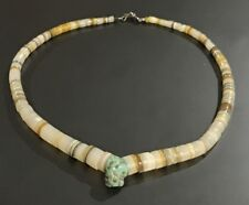 """NATIVE SANTO DOMINGO PUEBLO STERLING CLASP SHELL TURQUOISE HEISHI 16"""" NECKLACE"""