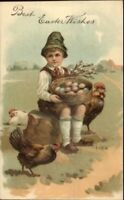 Easter - Little Boy Basket of Eggs & Chickens c1910 Postcard PFB Embossed