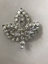Vintage Vendome Large Crystal Rhinestone Maple Leaf Pin Brooch Prong Set