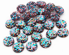 40pcs 12mm Blue, Pink & Gold Glitter Mix Resin Cabochons