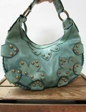 aa950ad442 ISABELLA FIORE Rustic Ocean Blue Brass Studded Heavy Oasis Hobo Bag Sling  Purse