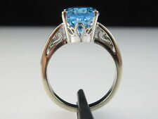 14K Blue Topaz Ring White Gold Estate Swiss Oval Fine Jewelry Solitaire