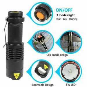 Super Bright 5000LM Cree Q5 AA/14500 3 Modes Strap Zoomable LED Flashlight Torch