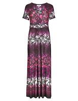 M&S Per Una Purple Pink Floral Maxi StayNEW™ Dress Sz UK 8 10 12