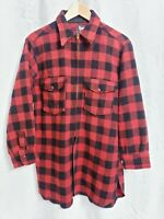 Vintage WOOLRICH 60s Buffalo Red Plaid Full Zip Up Jacket Talon size MEDIUM Mens