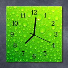 Glass Wall Clock Kitchen Clocks 30x30 cm silent Drops Green