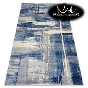 "Amazing Modern Rug ""SOFT"" elegant LIGHT GREY / BLUE abstraction High Quality"