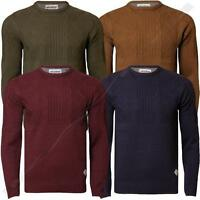 Mens Knitwear Threadbare IMS 065 Chunky Cable Jumper Crew Neck Sweater
