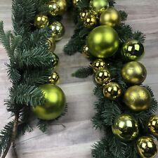 Pottery Barn 5ft Christmas Garland Green & Gold Ornaments