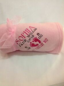 PERSONALISED BABY BLANKET EMBROIDERED SOFT  PINK  And A Nice BLUE