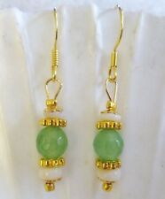 Natural Aust WHITE OPAL with Green Stones EARRINGS 14kt Yellow GOLD 925 Silver