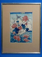Japanische Grafik handkoloriert, 19. Jahrhundert, Blumen und Vogel