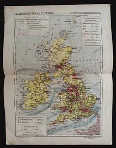 1929 MAP of UNITED KINGDOM & IRELAND EUROPE by GGK VSNH USSR Soviet Rare