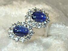 OVAL CORNFLOWER BLUE KYANIT & WHITE CZ 925 SILVER 14k GOLD PLATED 7.5 RING  #171